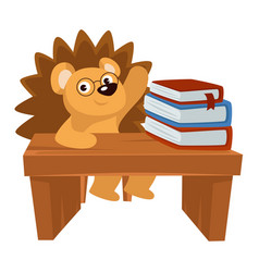 hedgehog sitting desk loaded with books in vector image