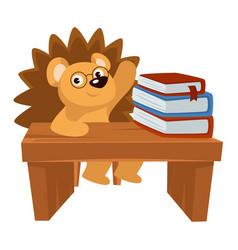 Hedgehog sitting desk loaded with books vector