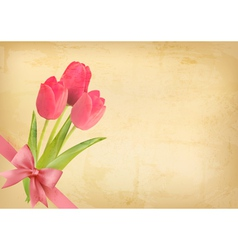 Holiday vintage background with pink flowers and vector image
