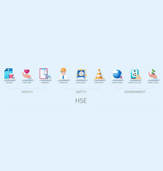 Hse banner with icons medicines health care vector