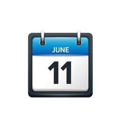June 11 Calendar icon flat vector