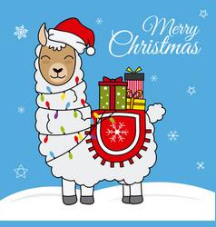 Llama with santa claus hat vector