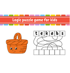Logic puzzle game learning words for kids find vector