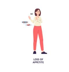 Loss appetite symptom illness card flat vector