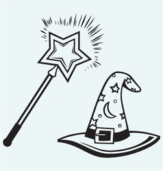 Magic hat and wand vector
