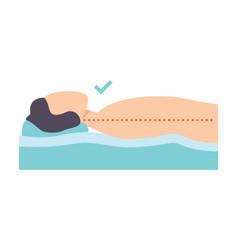 Man lying on his back correct sleeping posture vector