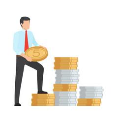 Man saving money icon vector