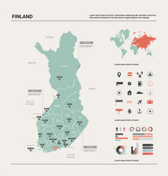 map finland country map with division cities vector image