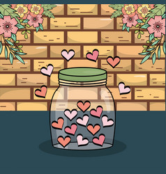 Mason jar with hearts love flowers decoration wall vector