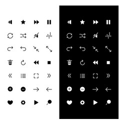 media player glyph icons set for night and day vector image