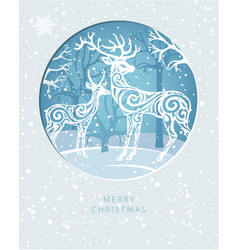 merry christmas card with deers in forest vector image