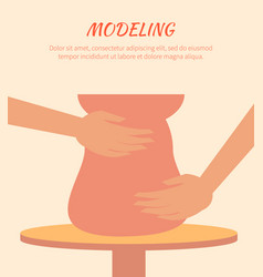 Modeling process pottery art vector