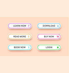 Multicolored buttons for web design vector