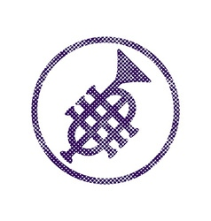 Music pipe icon with halftone dots print texture vector