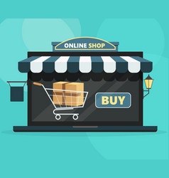 online shop concept open laptop with buy screen vector image
