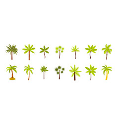 palm tree icon set flat style vector image