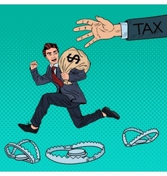 Pop Art Businessman Escapes Taxes with Money Bag vector