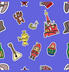 russia culture doodle graphic seamless pattern vector image