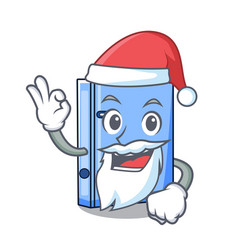 Santa office binder file isolated on cartoon vector