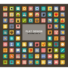 set 88 universal flat web and mobile icons vector image