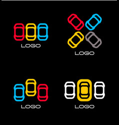 set colorful devices simple mobile vector image