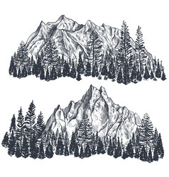 Set hand drawn graphic mountain ranges vector
