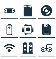 set of 9 computer hardware icons includes memory vector image