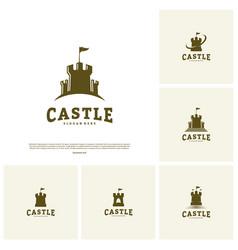 Set of castle logo design concept castle tower vector