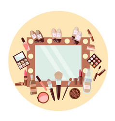 Set of cosmetics and mirror on yellow background vector