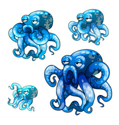 Set of stages of growth of animated octopus vector