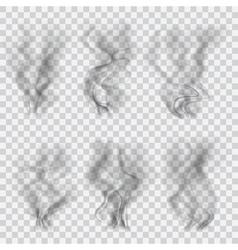 Set of translucent black smoke vector image