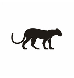 silhouette leopard logo design vector image