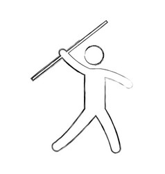 silhouette of athlete practicing javelin throw vector image