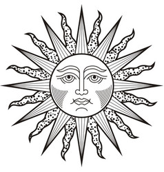Sun face black white tattoo vector