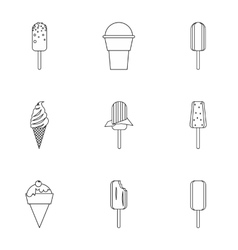 Sundae icons set outline style vector image