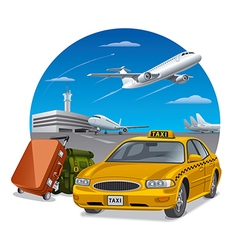 taxi and luggage vector image
