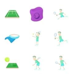 Tennis icons set cartoon style vector