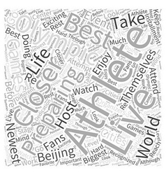 The Life of an Olympic Athlete Word Cloud Concept vector image