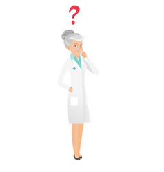 Thinking senior doctor with question mark vector