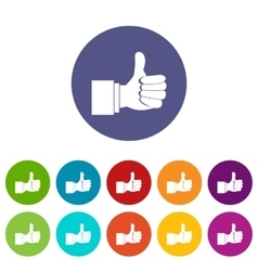 Thumb up gesture set icons vector