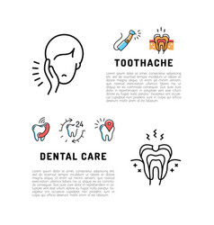 Toothache icons dental care card dentistry thin vector