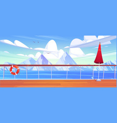 View from cruise ship deck to sea with mountains vector
