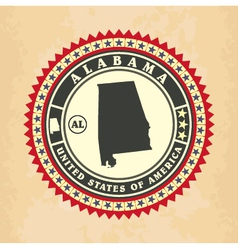 Vintage label-sticker cards of Alabama vector image