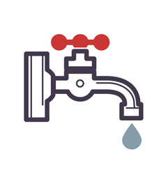 water dripping tap with drop flat design vector image