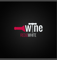 Wine bottle logo on black background vector