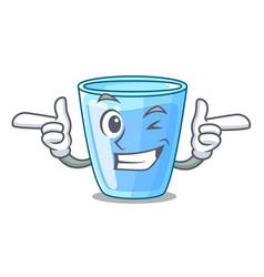 Wink fresh water glass in table cartoon vector