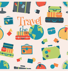 world travel seamless pattern background vector image