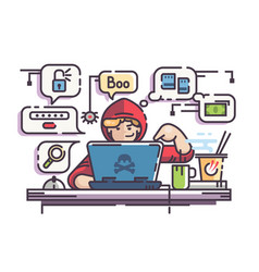 young man hacker with laptop vector image