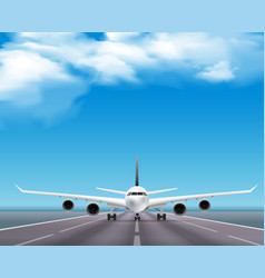 airplane on runway realistic poster vector image vector image
