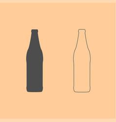 beer bottle dark grey set icon vector image